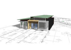 房子查出的白色 实际概念的庄园 3d 库存图片