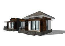 房子查出的白色 实际概念的庄园 3d 免版税库存图片