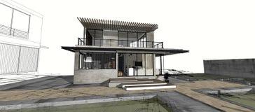 房子查出的白色 实际概念的庄园 3d 皇族释放例证