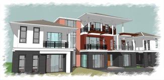 房子查出的白色 实际概念的庄园 3d 免版税图库摄影