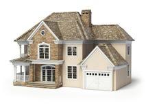 房子查出的白色 实际概念的庄园 3d 图库摄影