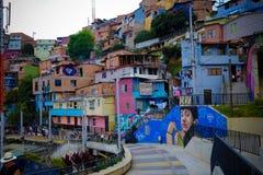 房子概要在Comuna 13,麦德林 免版税图库摄影
