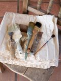 房子油漆刷画家s 图库摄影