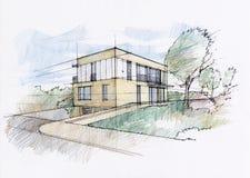 房子现代草图 库存例证