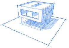 房子现代草图 免版税库存照片