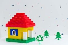 房子由组成儿童建设者 图库摄影