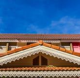 房子的三角形屋顶 免版税图库摄影图片