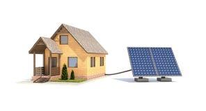 房子的太阳电池板 免版税库存照片
