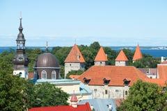 房子的屋顶的看法在老塔林 爱沙尼亚 免版税图库摄影