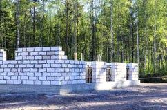 房子的建筑由被供气的混凝土制成,熔铸了在一个温暖的火炉的基础 远北部的本质 免版税库存图片