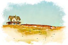 房子的水彩 免版税库存照片
