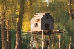 房子的被倒置的反射鸭子的在河水  库存照片