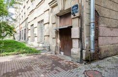 房子的角落在Blokhin街道15上的 库存照片
