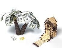 房子符合货币结构树 库存图片