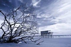 单独站立在海滩的房子红外线 图库摄影