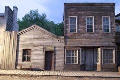 房子老美国西部镇前面  库存照片