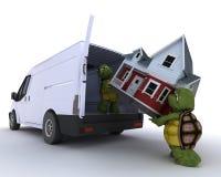 房子装载草龟有篷货车 向量例证