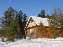 房子西伯利亚冬天 库存照片