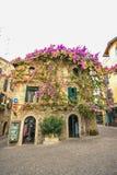 房子西尔苗内,意大利门面在西尔苗内的中心有开花的桃红色九重葛的 a的传统夏天门面装饰 免版税图库摄影