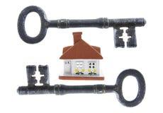 房子锁上概要 库存照片
