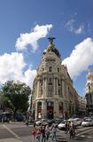 房子门面Gran的通过在马德里 免版税库存照片