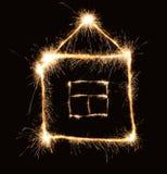 房子闪烁发光物 库存图片