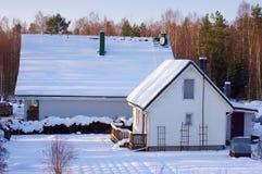房子雪白冬天 库存照片