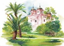 房子水彩绘画森林例证的 免版税库存图片