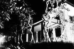房子轻的晚上视窗 免版税库存照片