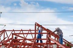 房子建筑的混凝土桩模子 免版税库存图片
