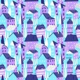 房子仿造无缝 逗人喜爱的城市传染媒介例证 杨梅 向量例证