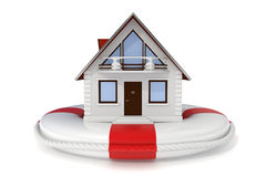 房子lifebuoy图标的保险 免版税库存图片