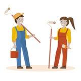 房屋油漆工夫妇  库存照片