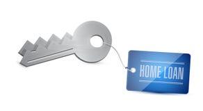 房屋贷款钥匙。例证设计 库存图片
