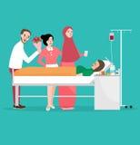 医房男性和女性卫生保健治疗的参观的朋友病残 皇族释放例证