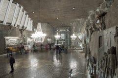 房间在盐矿在维利奇卡,波兰 免版税库存照片