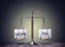 所得税平衡的财务预定标度概念 免版税库存照片
