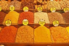 所有东方香料在伊斯坦布尔香料义卖市场 库存照片