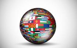 所有国家旗子以3D球形的形式 免版税库存照片