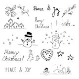 所有圣诞节cmyk乱画容易的梯度没有编组对象recolour 库存照片