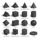 所有基本的3d塑造在黑暗的模板 向量例证