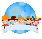 所有所有社区要素全球例证各自的孩子对象称范围纹理导航世界 免版税图库摄影