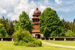 所有木教会Svaty Kriz在斯洛伐克 图库摄影