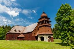 所有木教会Svaty Kriz在斯洛伐克 库存图片