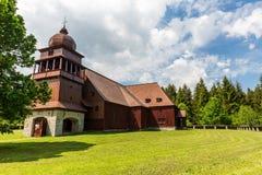 所有木教会Svaty Kriz在斯洛伐克 免版税库存照片
