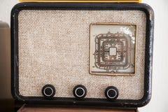所有查出的徽标收音机被取消的葡萄酒白色 库存图片