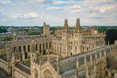 所有灵魂学院和牛津都市风景的鸟瞰图 免版税库存照片