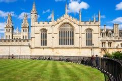 所有灵魂学院在牛津大学 牛津郡,英国 库存照片