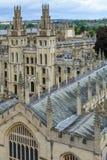 所有灵魂学院,牛津大学,牛津,英国 概要与 免版税图库摄影