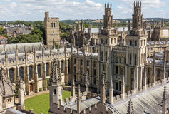 所有灵魂的学院鸟景色在牛津,英国 库存图片